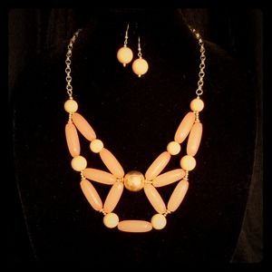 Peach Bib Necklace set